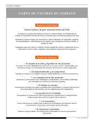 Carta De Valores Codelco
