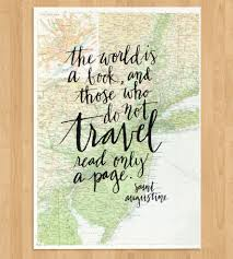 Travel Quote Calligraphy Map Art Print