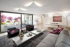 View In Gallery Contemporary Living Room With Purple Flowers