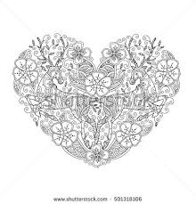 Coloring Page With Running Deer In Heart Love Shape Good Quality Book For Adult