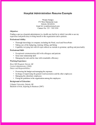 Example For Hospital Administration Resume Samples Healthcare