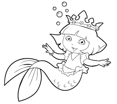 Dora As A Mermaid Coloring Pages