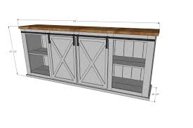 ana white build a grandy sliding door console free and easy