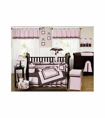sweet jojo designs hotel pink brown 9 piece crib bedding set
