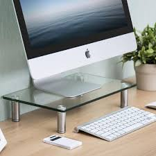 Tempered Glass Computer Desk by Fitueyes Clear Computer Monitor Riser Desktop Riser Clear