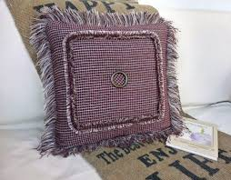 Rustic Pillow Cover Brown Decorative For Couch Home Decor Fringe