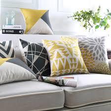 coussins de canapé moderne géométrique housse de coussin jaune oreillers décoratifs