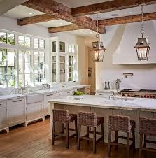 Splendid Interior Kitchen For French Country Design With Wooden Storage White Marble Countertop Sink Table Rattan Bar Stools