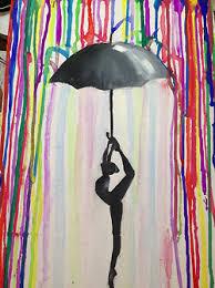 Ballerina With Umbrella Drip ArtMelted Crayon