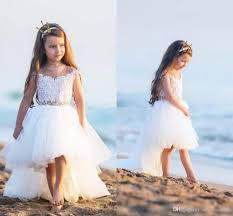 Elegant Lace Flower Girls Dresses For Weddings Sheer Crew Pearls