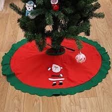 JunMu 36 Inch Christmas Tree Skirt Non Woven Xmas With Santa Design
