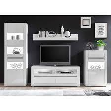 weiße hochglanzmöbel für das wohnzimmer mextra optional mit led 4 teilig