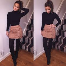 Winter Date Night Outfit Black Tights Leather Skirt Turtleneck And Boots