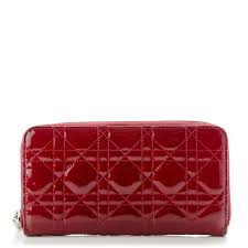 christian dior patent cannage lady dior continental zip wallet red