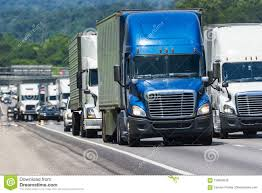 100 Simi Trucks Semi Pack Crowded Interstate Highway Stock Image