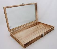 Rustic Wood Glass Top Display Case Antique Oak Color