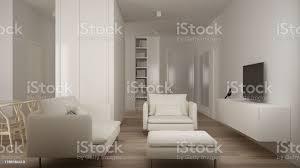 minimalistisches kleines wohnzimmer in einer schlafzimmerwohnung wohnzimmer mit sofa und pouf tvsackregal parkettboden weißes interieur saubere