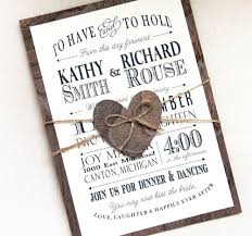 Rustic Wedding Invitation With Real Wood Backing Woodland Barn Set Typography Invitations