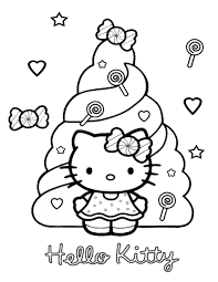Hello Kitty With Candies Coloring Page