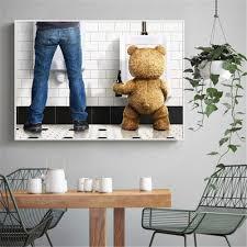 moderne humor leinwand malerei lustige teddybär mann in wc poster hd druck bad dekoration wand kunst bild für wohnzimmer zimmer