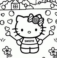 Hello Kitty Gardening Coloring Page