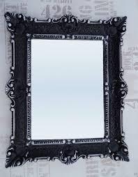 wandspiegel 56x46 schwarz silber antik barock repro flur