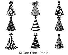 black party hat icons set isolated black party hat icons