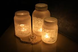 Decoration Equisite Candle Light For Rustic Decorated Mason Jars With White Curved Paper And Long