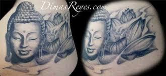 Black And Grey Buddha With Lotus Flower Tattoo
