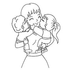 Mother And Baby Kissing Daughter Coloring Sheet