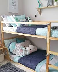 Contemporary Modern Scandinavian Australian Kids Bedroom Styling For Boys Ikea Timber Bunk Bed With Adairs Bedding In Mint And Grey