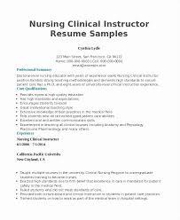 Clinical Instructor Resume Nursing Sample Fresh