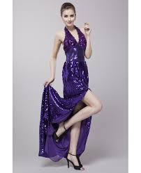 sequined halter evening dress with front split ck182 84 1