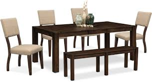 Value City Furniture Kitchen Table Chairs by Tribeca Table 4 Upholstered Side Chairs And Bench Tobacco