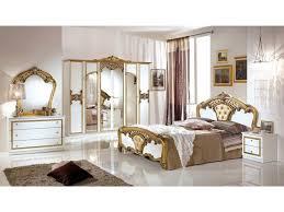schlichter schlafzimmer set eraclea 6 teilig weiß gold 6 türig bett 160x200 cm 2x nachttisch kommode spiegel