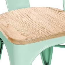 matte mint stackable side chair with light elm wood seat set of