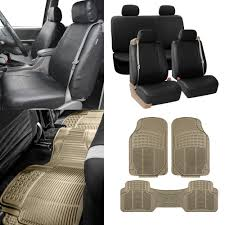 BESTFH: Black Integrated Seatbelt Truck SUV Seat Covers W/ Beige ...