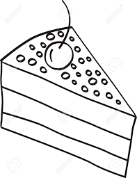 slice of cake clipart black and white 4
