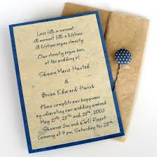Rustic Blue Wedding Invittaion Envelopes Wording Style Combined With White Polcadot Navy Button Decoration On Classic Brown Invitation