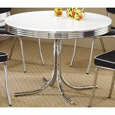 Coaster Company White/ Chrome Plated Metal Round Retro Dining Table Coaster Cleveland 5pc Oval Retro Ding Table Set In Whitechrome 3925 White Metal Tulip Outdoor Kitchen And Chairs Wooden Garden Chair 42 Extraordinary Room Zinc Small Lewis Gumtree Winsome Details About Industrial Rectangle Oak Vintage Leather Spring Colorful Amazing 3 Pcs And Frame Walnut Black Sets Legs Menards Base Dinette Home Glass Top Only An Argos Ideas John Tables Round Chrome Ipirations 1950s