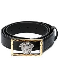 black calf leather and metal medusa in a frame belt from versace