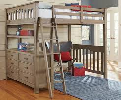 Brown Wood Loft Bed Full Size Design With Drawers Storage Plus