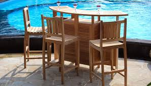 wood mini bar designs with stools for luxury garden near swimming