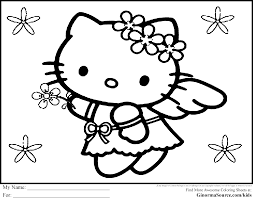 Adult Kitty Coloring Sheet Hello Free Inside Pages