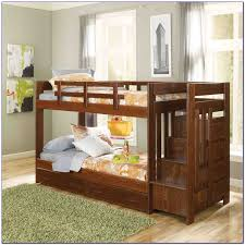 twin over twin bunk beds with stairs and trundle bedroom home