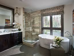 Chandelier Over Bathroom Vanity by White Master Bathroom Illuminated With Chandelier Over Tub And