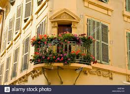 Typical Apartment Balcony With Flowers In Colmar Haut Rhin Alsace France