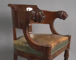 chaise de bureau antique restauration fauteuil ancien de bureau empire en acajou