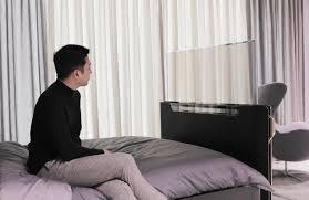 lg präsentiert einen transparenten oled tv als bett upgrade