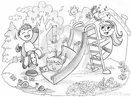 Kids On Playground Clipart Black And White 1